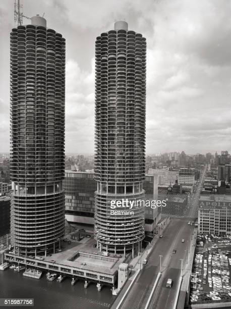 View of the Marina City Towers Undated photograph taken from the intersection of State Street and Wacker Drive looking north directly up State Street...