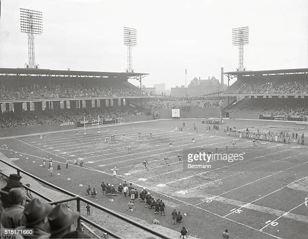 Roy McKay Green Bay Packers fullback kicks off in the second half of the Green Bay Packers Chicago Cardinals game at Chicago's Comiskey Park The...