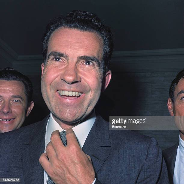 Chicago, ILL.: Vice president Nixon smiling after being nominated for president at Republican National Convention, July 1960, in Chicago, Illinois.