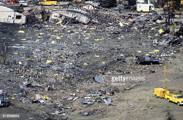 Chicago Plane Crash Aerials of American Airlines DC10 that crashed 5/25 near O'Hare International Airport Next morning aerials of scene 5/26/79 271...