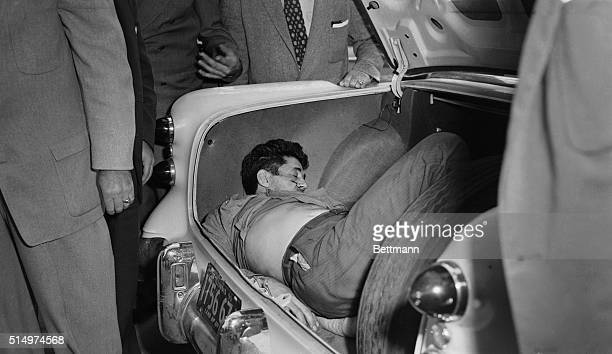 The body of Michael de Stefano hoodlum and former bank robber lies in the trunk of his car here after being discovered by police who received a...