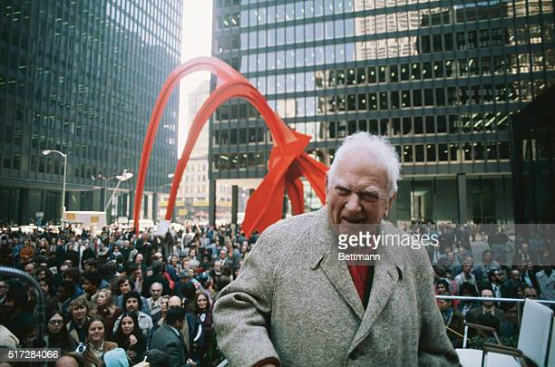 Chicago ILORIGINAL CAPTION READS Sculpter Alexander Calder at the dedication of his Sculpture 'Flamingo' at Chicago's Federal Center Plaza The...
