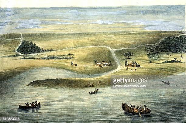 Chicago in 1820 color lithograph of Native Americans approaching a small settlement on canoes horses and livestock grazing on hillsides Chicago...