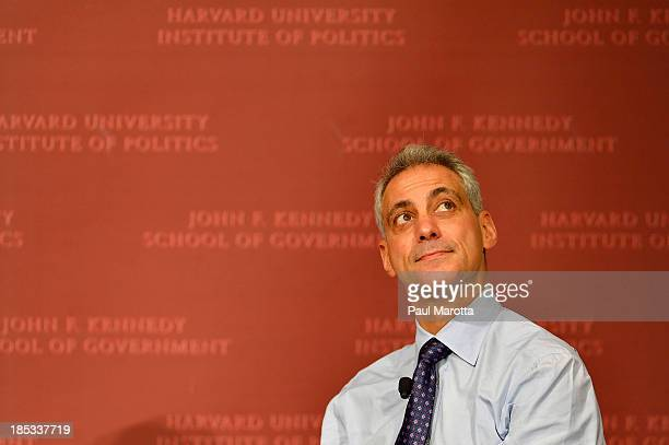 Chicago Mayor and Former White House Chief of Staff Rahm Emmanuel speaks at Harvard University's Institute of Politics John F Kennedy Jr Forum on...