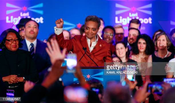 Chicago mayor elect Lori Lightfoot arrives on stage before speaking during the election night party in Chicago Illinois on April 2 2019 In a historic...