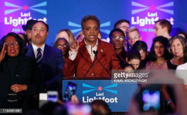 Chicago mayor elect Lori Lightfoot speaks during the election night party in Chicago Illinois on April 2 2019 In a historic first a gay African...