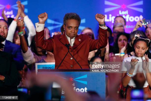 TOPSHOT Chicago mayor elect Lori Lightfoot speaks during the election night party in Chicago Illinois on April 2 2019 In a historic first a gay...
