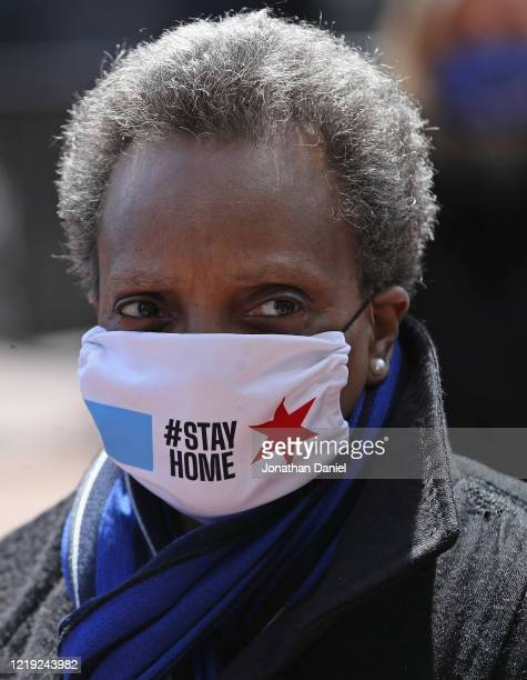 Chicago mayor Lori Lightfoot arrives at Wrigley Field on April 16, 2020 in Chicago Illinois. Wrigley Field has been converted to a temporary...