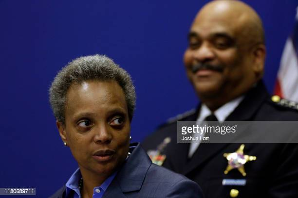 Chicago Mayor Lori Lightfoot speaks about Chicago Police Department Superintendent Eddie Johnson announcing his retirement during a news conference...