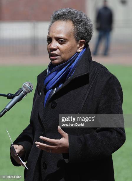 Chicago mayor Lori Lightfoot speaks during a press outside of Wrigley Field on April 16, 2020 in Chicago Illinois. Wrigley Field has been converted...