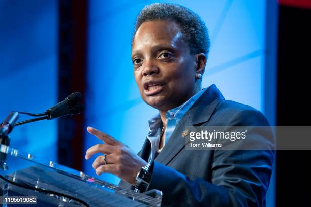Chicago Mayor Lori Lightfoot speaks during the US Conference of Mayors 88th Winter Meeting at the Capital Hilton in Washington DC on Thursday January...