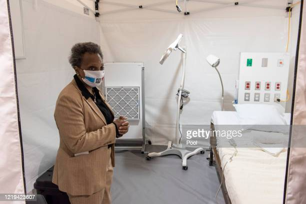 Chicago Mayor Lori Lightfoot tours the COVID-19 alternate care facility constructed at the McCormick Place convention center in Chicago, Illinois on...