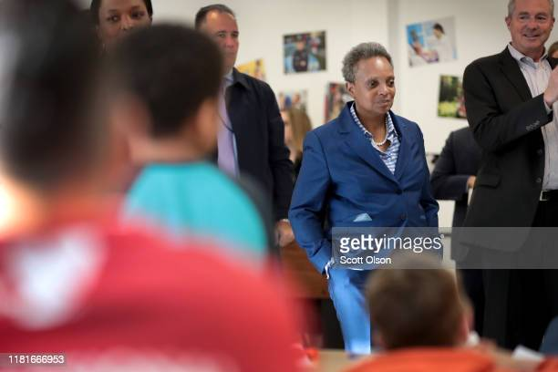 Chicago Mayor Lori Lightfoot visits with children affected by the teachers' strike at the McCormick YMCA on October 17 2019 in Chicago Illinois About...