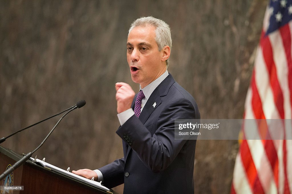 Chicago Mayor Rahm Emanuel addresses a special session of the City Council as his administration continues to come under fire as allegation of extreme misconduct in the Chicago Police Department continue to surface on December 9, 2015 in Chicago, Illinois. Many people are calling for the mayor to resign, accusing him of trying to cover up the misconduct.
