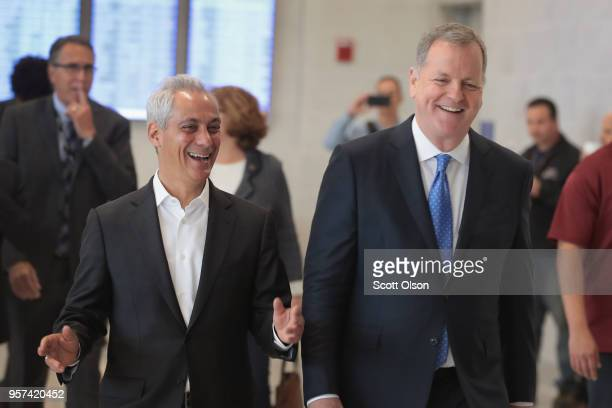 Chicago Mayor Rahm Emanuel and American Airlines CEO Doug Parker attend a ceremony to mark the opening of five new gates at O'Hare International...