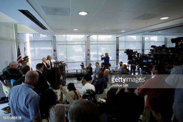 Chicago Mayor Rahm Emanuel and Chicago Police Superintendent Eddie Johnson speak about Chicago's weekend of gun violence during a news conference at...