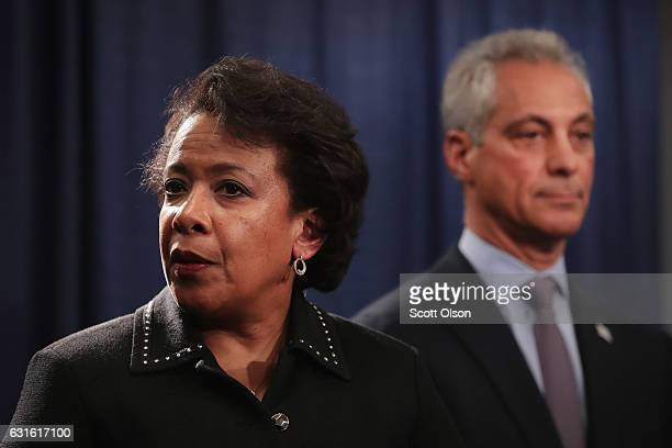Chicago Mayor Rahm Emanuel and US Attorney General Loretta Lynch take questions at a press conference on January 13 2017 in Chicago Illinois Lynch...