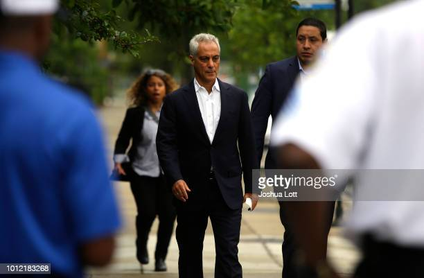 Chicago Mayor Rahm Emanuel arrives at a news conference to address reporters about Chicago's weekend of gun violence Monday August 6 2018 in Chicago...