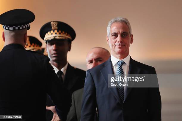 Chicago Mayor Rahm Emanuel attends a police graduation and promotion ceremony at Navy Pier on November 19 2018 in Chicago Illinois More than 350...