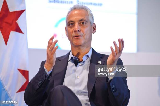 Chicago Mayor Rahm Emanuel attends the Leaders Sport Performance Summit at Soldier Field on June 27 2017 in Chicago Illinois