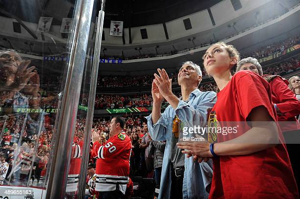 Chicago mayor Rahm Emanuel cheers on the Chicago Blackhawks with daughter Ilana in Game Five of the Second Round of the 2014 Stanley Cup Playoffs...