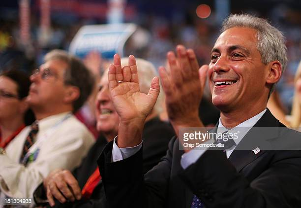 Chicago Mayor Rahm Emanuel claps during a speaker during day two of the Democratic National Convention at Time Warner Cable Arena on September 5,...
