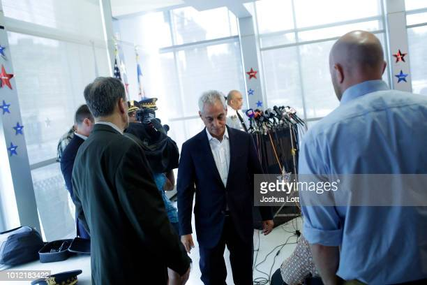 Chicago Mayor Rahm Emanuel exits a news conference after speaking about Chicago's weekend of gun violence at the Chicago Police Department 6th...