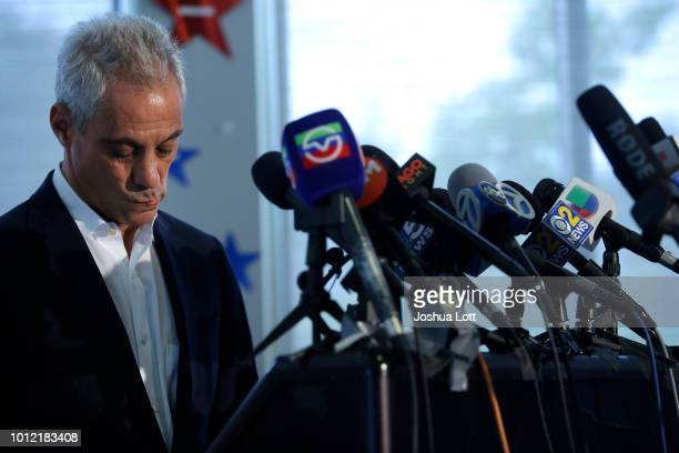 Chicago Mayor Rahm Emanuel gesture after speaking about Chicago's weekend of gun violence during a news conference at the Chicago Police Department...