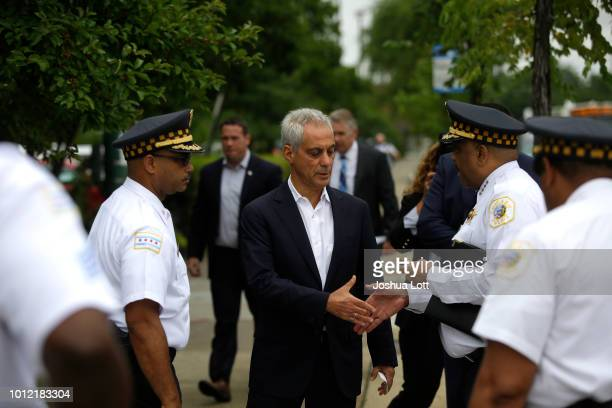 Chicago Mayor Rahm Emanuel greets Chicago Police Superintendent Eddie Johnson before they spoke at a news conference to address reporters about...