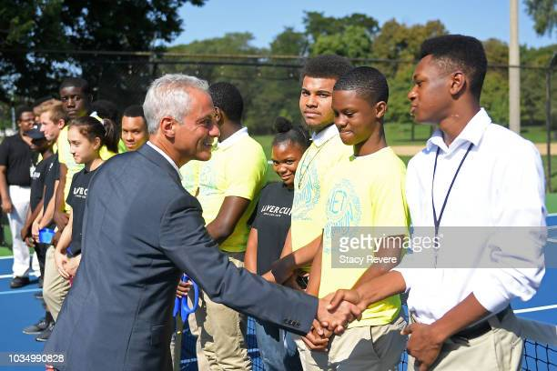 Chicago Mayor Rahm Emanuel greets local students during the Laver Cup Legacy Court Ceremony at Garfield Park on September 17 2018 in Chicago Illinois