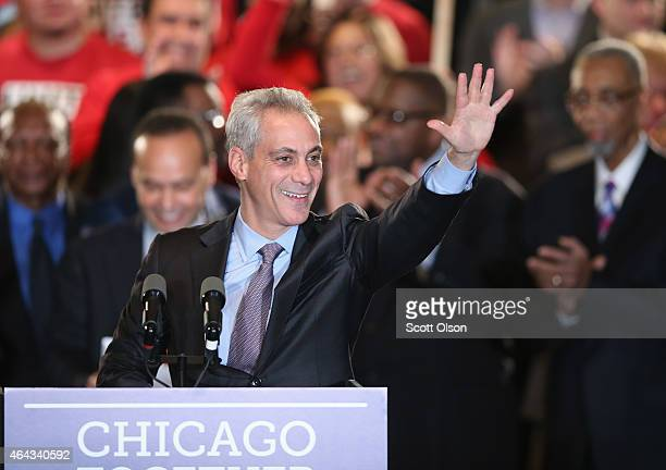 Chicago Mayor Rahm Emanuel greets supporters at an election day rally February 24 2015 in Chicago Illinois Emanuel was hoping to win reelection...