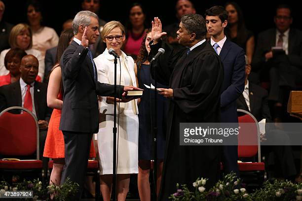 Chicago Mayor Rahm Emanuel is sworn in by Cook County Chief Judge Timothy Evans at Emanuel's second inauguration event on Monday May 18 2015 at the...