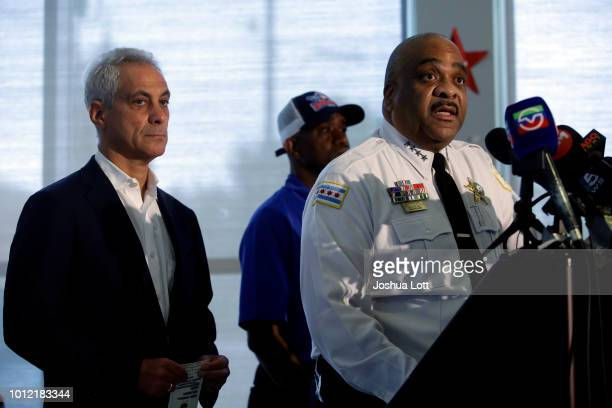Chicago Mayor Rahm Emanuel listens as Chicago Police Superintendent Eddie Johnson speaks about Chicago's weekend of gun violence during a news...