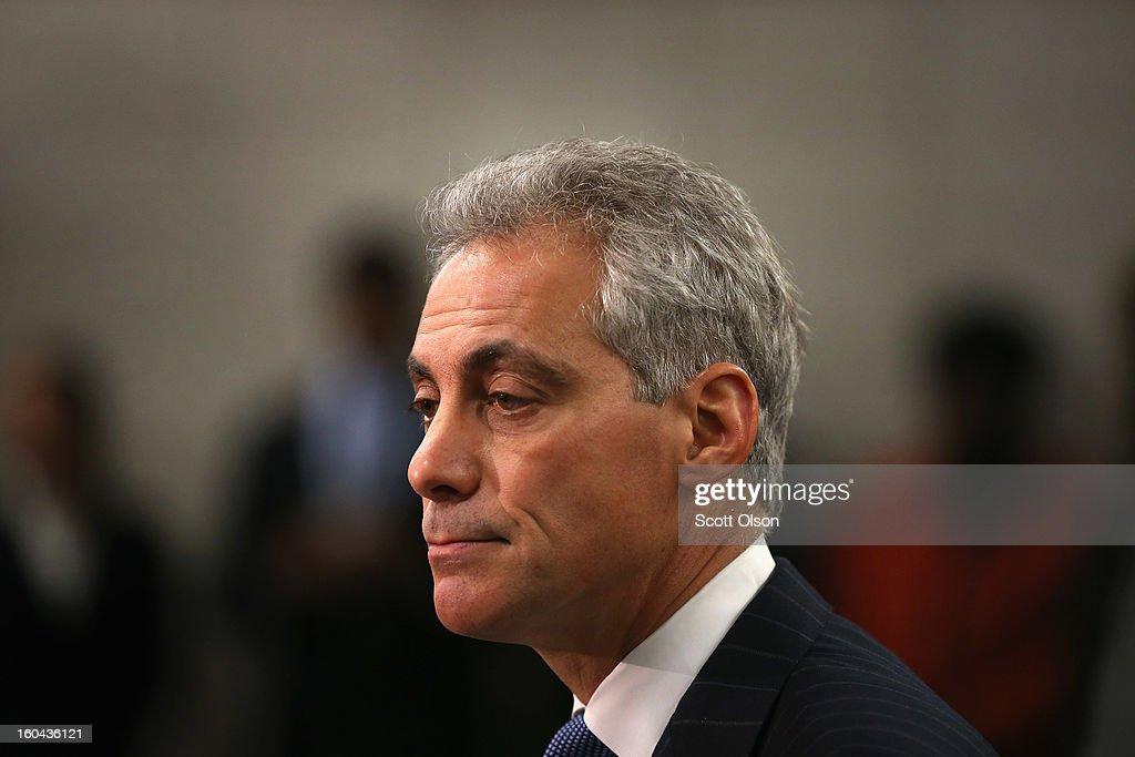 Chicago Mayor Rahm Emanuel Announces Police Dept. Plans To Combat Gang Violence : News Photo