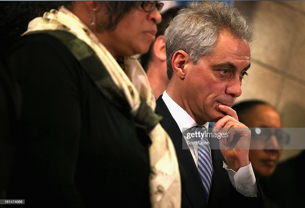 Chicago Mayor Rahm Emanuel listens as Police Superintendant Garry McCarthy speaks during a press conference which they called to promote a plan to increase mandatory minimum sentencing for serious gun crimes in an effort to combat the city's growing gun violence problem on February 11, 2013 in Chicago, Illinois. President Barack Obama is expected to speak about the city's growing gun violence problem during a visit to Chicago on Friday. Last year the city had more than 500 murders.