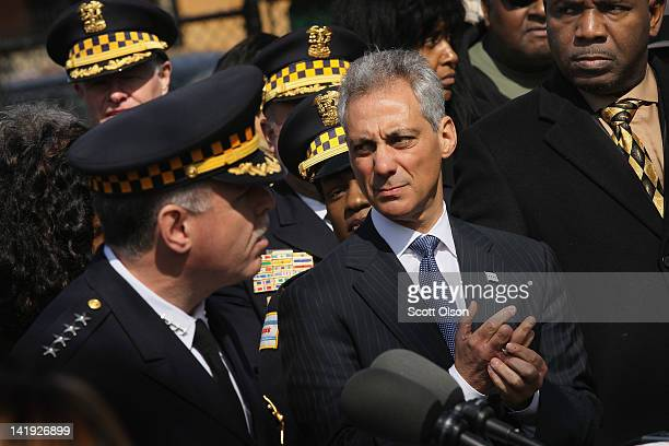 Chicago Mayor Rahm Emanuel listens as Police Superintendent Garry McCarthy speaks during a press conference to announce the results of two...