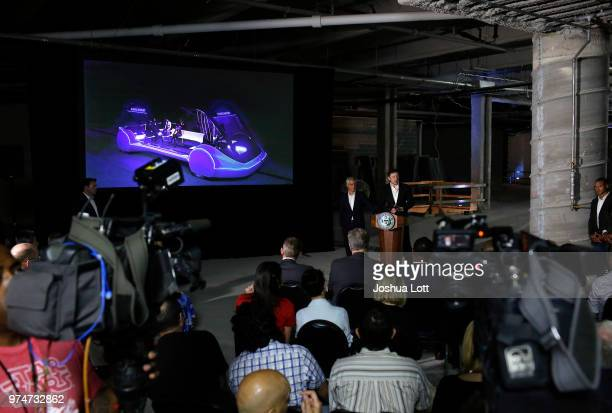 Chicago Mayor Rahm Emanuel listens to engineer and tech entrepreneur Elon Musk of The Boring Company talks about constructing a high speed transit...
