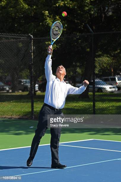 Chicago Mayor Rahm Emanuel plays tennis with local students and community members during the Laver Cup Legacy Court Ceremony at Garfield Park on...