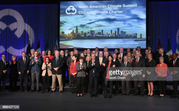 Chicago Mayor Rahm Emanuel poses for a picture with mayors from US Mexico and Canada during the North American Climate Summit on December 5 2017 in...