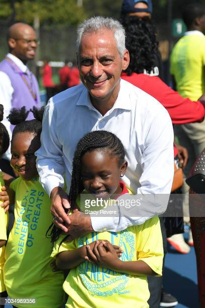 Chicago Mayor Rahm Emanuel poses with local students during the Laver Cup Legacy Court Ceremony at Garfield Park on September 17 2018 in Chicago...