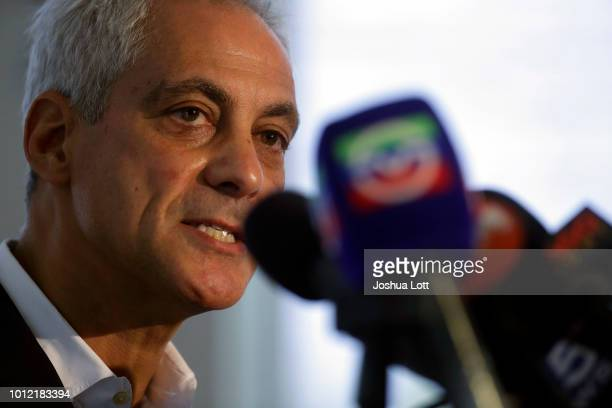 Chicago Mayor Rahm Emanuel speaks about Chicago's weekend of gun violence during a news conference at the Chicago Police Department 6th District...