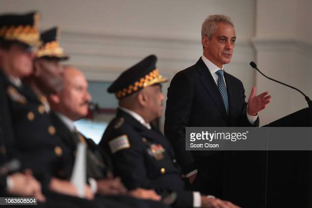 Chicago Mayor Rahm Emanuel speaks at a police graduation and promotion ceremony at Navy Pier on November 19 2018 in Chicago Illinois More than 350...