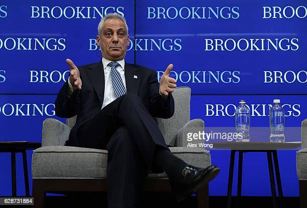 Chicago Mayor Rahm Emanuel speaks during a discussion at the Brookings Institution December 9 2016 in Washington DC The Brookings Institution held a...