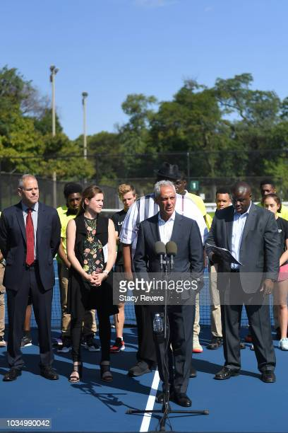 Chicago Mayor Rahm Emanuel speaks to local students and community members during the Laver Cup Legacy Court Ceremony at Garfield Park on September 17...