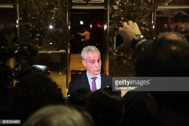 Chicago Mayor Rahm Emanuel speaks to the media after a meeting at Trump Tower on December 7 2016 in New York City According to reports Emanuel urged...