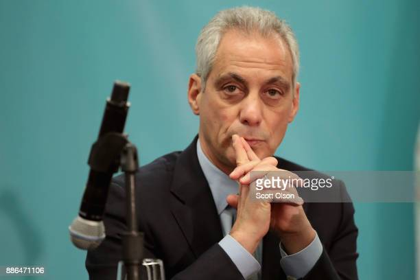 Chicago Mayor Rahm Emanuel speaks to the press during the North American Climate Summit on December 5 2017 in Chicago Illinois The summit was held to...