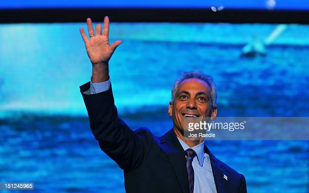 Chicago Mayor Rahm Emanuel takes the stage to speak during day one of the Democratic National Convention at Time Warner Cable Arena on September 4,...
