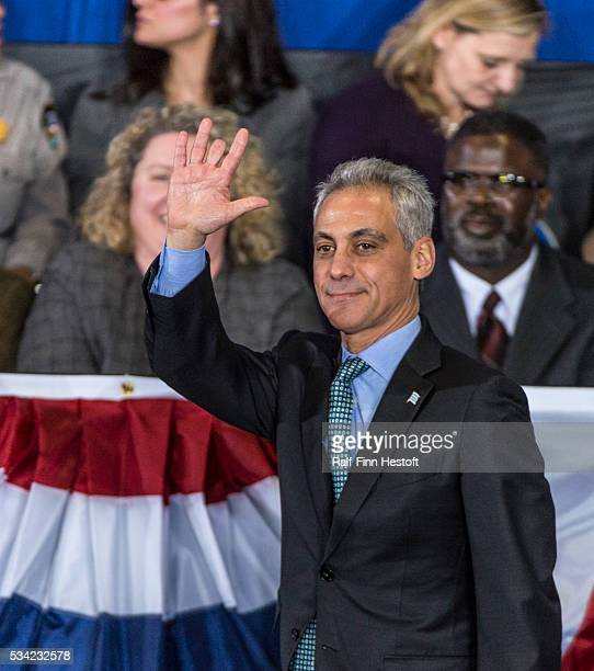 Chicago Mayor Rahm Emmanuel takes the stage before President Barack Obama speaks to a crowd at Gwendolyn Brooks College Prep on the South Side of...