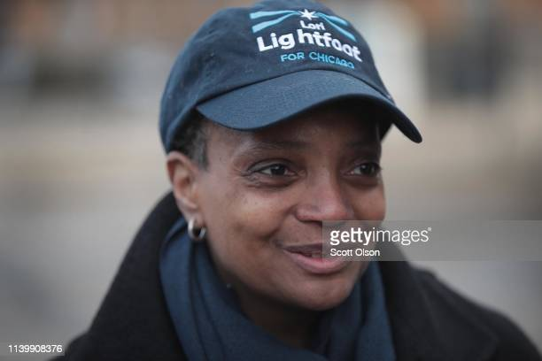 Chicago mayoral candidate Lori Lightfoot greets commuters at an L station in Logan Square on April 02 2019 in Chicago Illinois Voters in Chicago go...