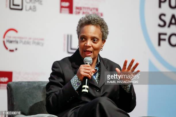 Chicago mayoral candidate Lori Lightfoot speaks during a forum on crime and violence at University of Chicago Institute of Politics Harris School of...